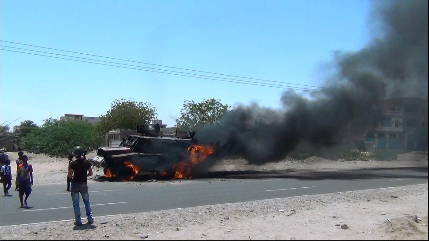 تفجير مدرعة تابعة للحوثيين بلحج اليمن